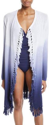 Tommy Bahama Open-Front Tie-Dye Tassel Coverup Sweater