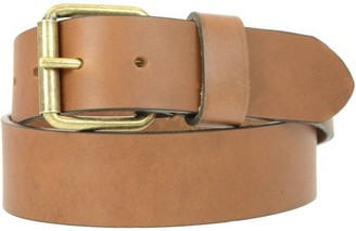 Montauk Leather Club 1-1/2 in. US Steer Hide Harness Leather Men's Belt with Antique Brass Finish Roller Buckle