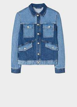 Paul Smith Men's Mid-Wash Patchwork Denim Jacket