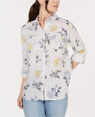 eabb1ca74c6255 Charter Club Plus Size Linen Mixed-Print 3 4-Sleeve Blouse