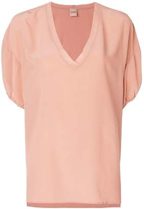 Nude v-neck fluid blouse