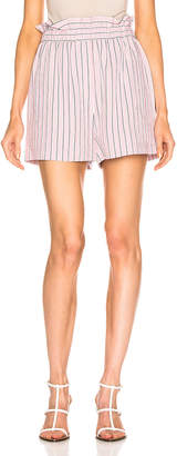 Tibi Stripe Pull On Short in Dusty Pink | FWRD