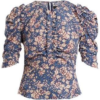 Isabel Marant Brizo Ruffle Trimmed Floral Print Stretch Silk Top - Womens - Blue Print
