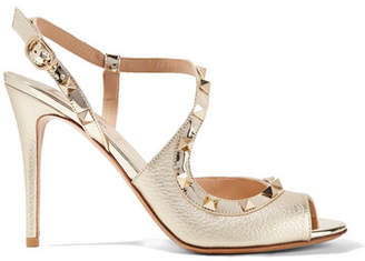 Valentino Garavani The Rockstud Metallic Textured-leather Sandals - Gold