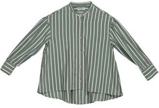 Brunello Cucinelli Girl's Striped Button-Down Silk Blouse w/ Monili Placket, Size 8-10