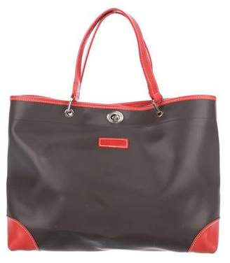 536e303e5a6d Longchamp Leather-Trimmed Canvas Tote