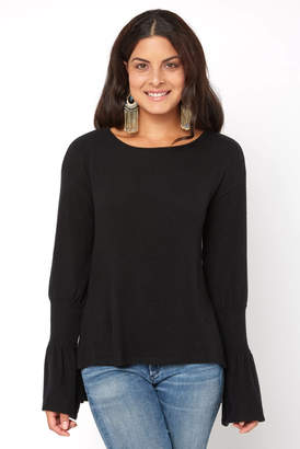 Red Haute Cuffed Bell Sleeve Top