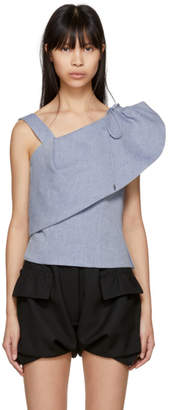 Carven Blue Gathered Shoulder Blouse