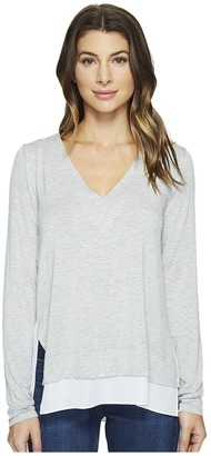 HEATHER - V-Neck Silk Layered Asymmetrical Pullover Women's Clothing $132 thestylecure.com