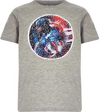 River Island Boys grey Marvel reverse sequin T-shirt