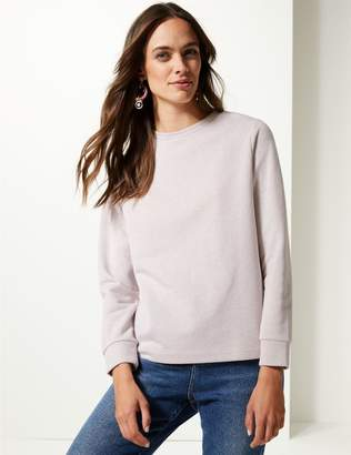 Marks and Spencer Cotton Rich Sparkly Long Sleeve Sweatshirt