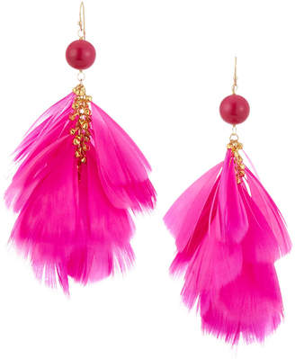 Panacea Hot Pink Feather Drop Earrings