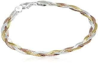 Sterling Silver Italian Three-Strand Braided Herringbone Chain Bracelet