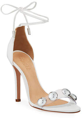 Schutz Ramon Studded Vinyl Ankle-Tie Sandals