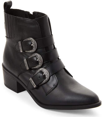 Steve Madden Black Bark Buckle Ankle Booties