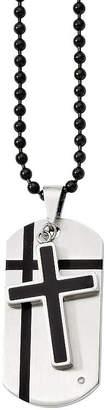 FINE JEWELRY Mens Cubic Zirconia Stainless Steel & Black Enamel Cross Dog Tag Pendant