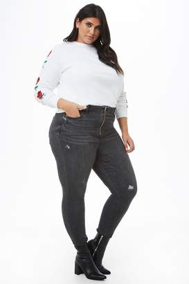 Forever 21 Plus Size Distressed Pull-Ring Skinny Jeans