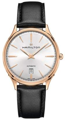 Hamilton Jazzmaster Thinline 18K Gold Automatic Leather Strap Watch, 40mm