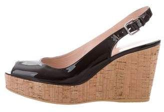 Stuart Weitzman Patent Leather Peep-Toe Wedges