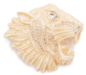 Gucci Crystal Embellished Tiger Brooch - Womens - White