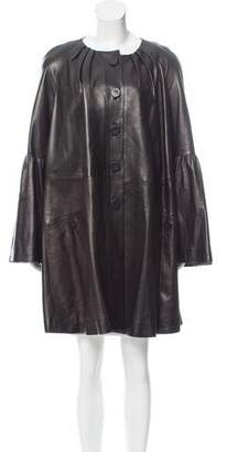 Alexander McQueen Leather Oversize Coat