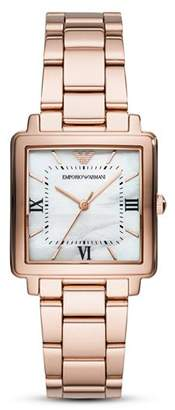 Emporio Armani Modern Square Three-Hand Stainless Steel Watch, 30