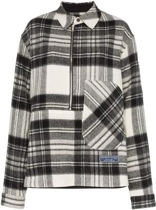 we11done check print wool shirt