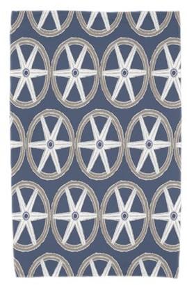 Simply Daisy, 30 x 60 Inch, Nautical Geo Lines, Geometric Print Beach Towel, Navy Blue