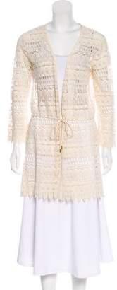 Melissa Odabash Crochet Long Sleeve Cardigan