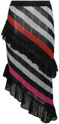 Marco De Vincenzo Striped asymmetric skirt with ruffles