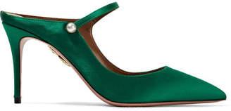 Aquazzura Nolita Satin Mules - Emerald