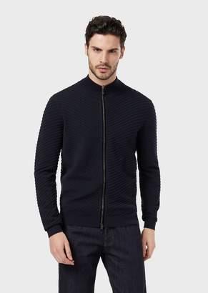 Giorgio Armani Full-Zip, Virgin Wool Cardigan In Ottoman Stitch