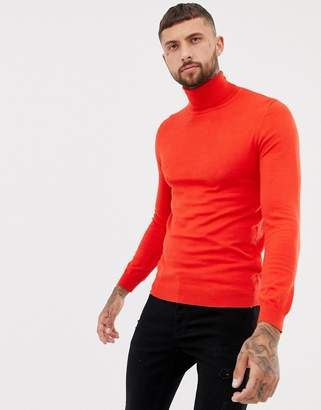 Pull&Bear roll neck sweater in red