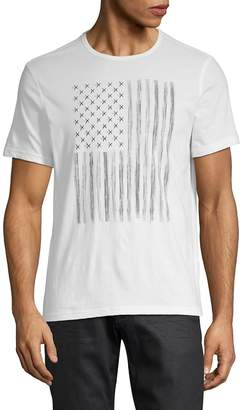 John Varvatos Men's Zipper Star Stud Flag Graphic Cotton Tee