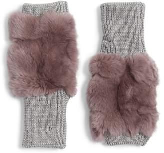 Jocelyn Genuine Rabbit Fur Fingerless Knit Mittens
