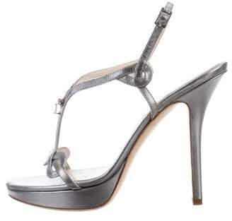 Christian Dior Metallic Ankle Strap Sandals