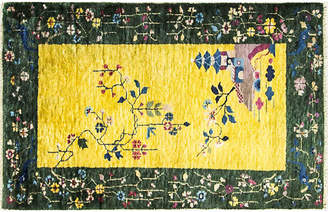 """One Kings Lane Vintage 3'2"""" x 4'1"""" Antique Art Deco - Eli Peer Oriental Rugs"""