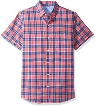 Izod Men's Dockside Chambray Plaid Short Sleeve Shirt (Regular and Slim Fit)