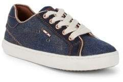 Geox Little Girl's & Girl's Lace-Up Denim Sneakers