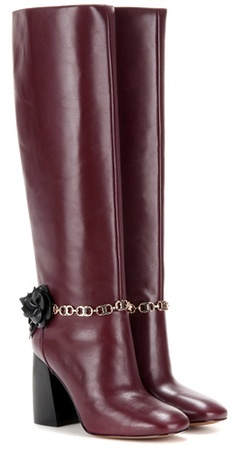 Tory Burch Blossom embellished leather knee-high boots