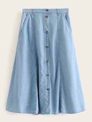 Shein Button Through Slant Pockets Denim Skirt