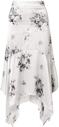 Ganni Cameron Floral-print Satin Midi Skirt - Cream
