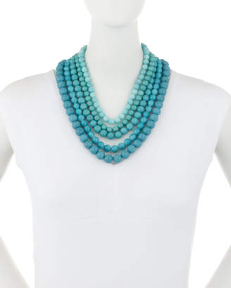 Lydell NYC Multi-Row Necklace, Turquoise/Blue