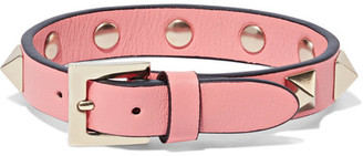 Valentino - The Rockstud Leather And Gold-tone Bracelet - Pink $175 thestylecure.com