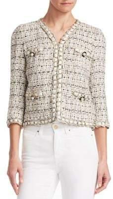 Edward Achour Women's Braid Trim Embellished Cropped Jacket - Beige - Size 46 (14)