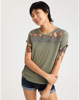 American Eagle AE Soft & Sexy Lace Chest Short Sleeve Tee