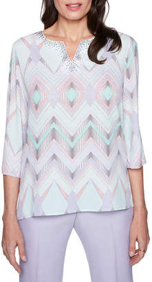 Alfred Dunner Roman Holiday 3/4 Sleeve Split Crew Neck Woven Embellished Blouse