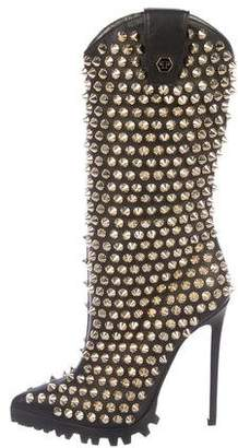 Philipp Plein Studded Leather Boots w/ Tags