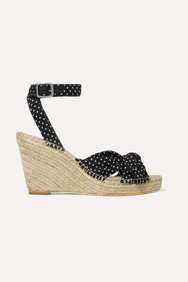 5c0e49f716c4 Loeffler Randall Tessa Knotted Polka-dot Cotton Espadrille Wedge Sandals -  Black