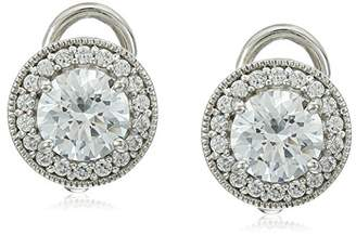 Swarovski Platinum Plated Sterling Silver Made with Zirconia Halo Earrings